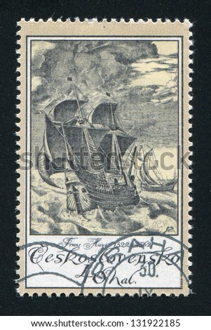 CZECHOSLOVAKIA - CIRCA 1976: stamp printed by Czechoslovakia, shows Ships in Storm, by Frans Huys, circa 1976 - stock photo