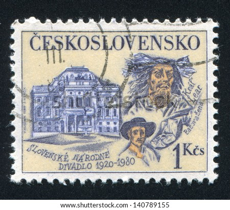 CZECHOSLOVAKIA - CIRCA 1980: stamp printed by Czechoslovakia, shows Slovak National Theater Actors, circa 1980