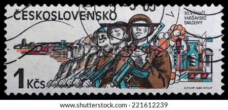 CZECHOSLOVAKIA - CIRCA 1985: stamp printed by Czechoslovakia, shows Soviet Army in USSR, 1945, circa 1985 - stock photo