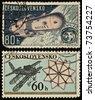 CZECHOSLOVAKIA - CIRCA 1963: stamp printed by Czechoslovakia, shows Soviet Spaceship Vostok and CZECHOSLOVAKIA - CIRCA 1972: A stamp printed in Czechoslovakia showing airplane - stock photo