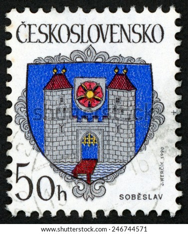 CZECHOSLOVAKIA - CIRCA 1990: stamp printed in Ceskoslovensko (Czech) shows coat of arms of regional capitals; city Sobeslav; castle gate bridge water sun on shield; Scott 2785 A847 50h, circa 1990 - stock photo