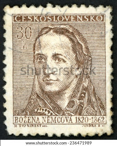 CZECHOSLOVAKIA - CIRCA 1962: stamp printed in Ceskoslovensko shows Czech writer Bozena Nemcova (1820-1862); grandmother novel; various cultural personalities & events; Scott 1099 30h brown; circa 1962 - stock photo
