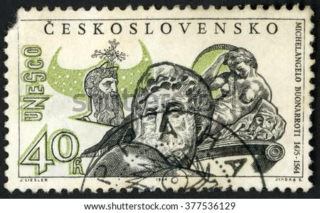 CZECHOSLOVAKIA - CIRCA 1964: stamp printed in Ceskoslovensko shows marble sculpture moses, day & night by Michelangelo Buonarroti (1475-1564); UNESCO; Scott 1229 A471 40h black green, circa 1964 - stock photo