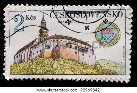 "CZECHOSLOVAKIA - CIRCA 1982: stamp printed in Czechoslovakia, artist Jean HERTSIK, picture is ""a temple on the shore"" circa 1982 - stock photo"
