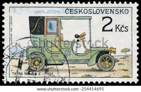 "CZECHOSLOVAKIA - CIRCA 1988: Stamp printed in Czechoslovakia from the ""Historic Motor Cars"" issue shows Tatra NW type E, 1905, circa 1988. - stock photo"