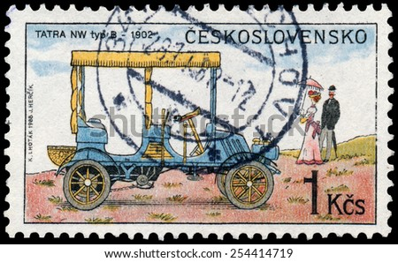 "CZECHOSLOVAKIA - CIRCA 1988: Stamp printed in Czechoslovakia from the ""Historic Motor Cars"" issue shows Tatra NW type B, 1902, circa 1988. - stock photo"