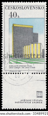 CZECHOSLOVAKIA - CIRCA 1968: Stamp printed in Czechoslovakia, shows Broadcasting Building, circa 1968 - stock photo