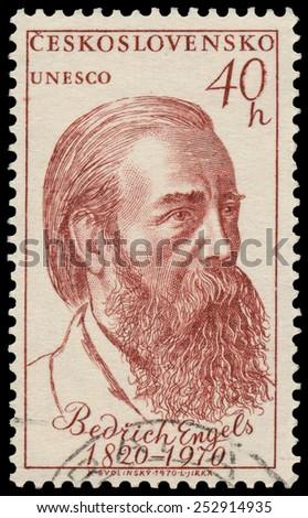 CZECHOSLOVAKIA - CIRCA 1970: Stamp printed in Czechoslovakia shows portrait Friedrich Engels (1820-95), German socialist, circa 1970 - stock photo