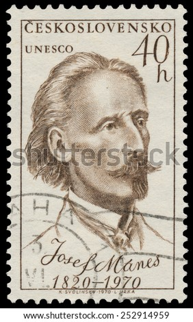 CZECHOSLOVAKIA - CIRCA 1970: Stamp printed in Czechoslovakia shows portrait Josef Manes, circa 1970 - stock photo