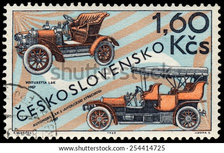 CZECHOSLOVAKIA - CIRCA 1969: Stamp printed in Czechoslovakia, shows the Laurin and Klement Voiturette, 1907, and L and K touring car with American top, 1907, circa 1969 - stock photo