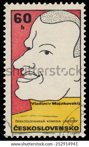 CZECHOSLOVAKIA - CIRCA 1969: Stamp printed in Czechoslovakia shows Vladimir Majakovskij Russian poet, playwright, artist, actor; circa 1969 - stock photo