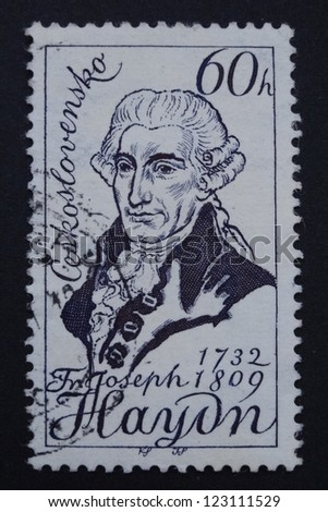 CZECHOSLOVAKIA - CIRCA 1959: Stamp printed in former Czechoslovakia shows an Austrian composer Joseph Haydn, circa 1959. - stock photo