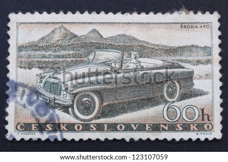 CZECHOSLOVAKIA - CIRCA 1958: Stamp printed in former Czechoslovakia shows Skoda 450car. Czech Motor Industry Commemoration series, circa 1958. - stock photo