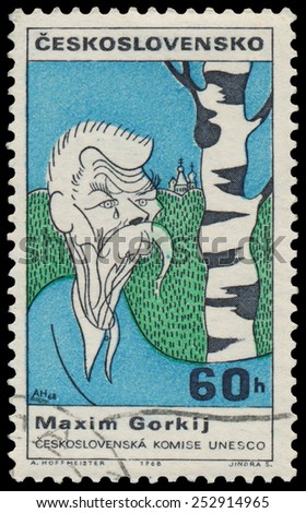CZECHOSLOVAKIA - CIRCA 1968: Stamp printed in the Czechoslovakia, shows a caricature Maxim Gorky, circa 1968  - stock photo