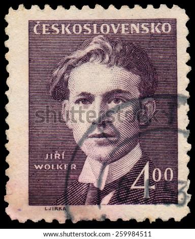 CZECHOSLOVAKIA - CIRCA 1949: Stamp printed in the Czechoslovakia shows Jiri Wolker, Poet, Journalist and Playwright, circa 1949 - stock photo