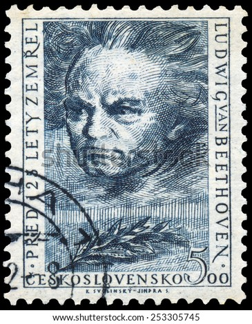 CZECHOSLOVAKIA - CIRCA 1952: Stamp shows portrait Ludwig Van Beethoven, the famous German composer and pianist, circa 1952 - stock photo