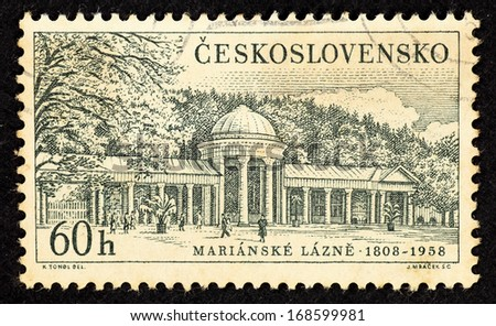 CZECHOSLOVAKIA - CIRCA 1958: Stamps printed in Czechoslovakia with image of spa building in the spa town of Marianske Lazne, circa 1958. - stock photo