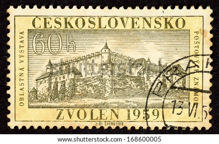 CZECHOSLOVAKIA - CIRCA 1959: Stamps printed in Czechoslovakia with image of the ancient castle in the historical town of Zvolen, circa 1959.  - stock photo
