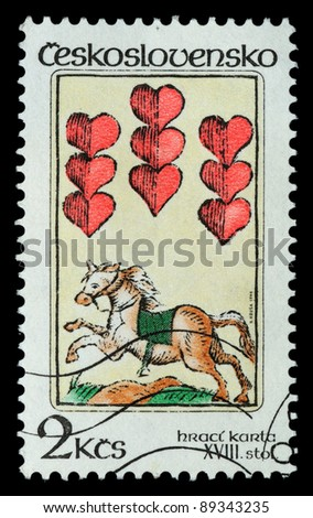 CZECHOSLOVAKIA - CIRCA 1984: The stamp printed in Czechoslovakia shows a horse and hearts, circa 1984