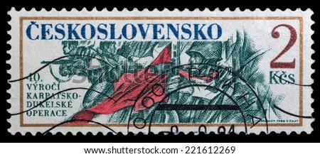 CZECHOSLOVAKIA - CIRCA 1984: The stamp printed in Czechoslovakia shows the folk revolt, circa 1984 - stock photo