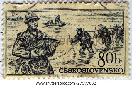Czechoslovakia mail postage stamp - stock photo