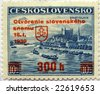 Czechoslovakia stamp reused by the German puppet-state called Slovak Republic after 18 January 1939 by overprinting the name of the country and the value - stock photo