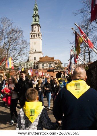 CZESTOCHOWA, POLAND 12 APRIL 2015: Jasna Gora is the most famous shrine to the Virgin Mary. Czestochowa city is local tourist attraction in Poland. - stock photo
