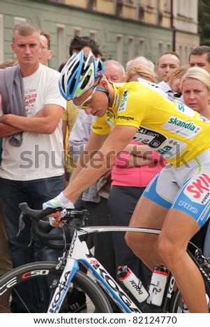 CZESTOCHOWA, POLAND - AUGUST 1 - Marcel Kittel (Skil-Shimano, Europe champion U23 2009) just before the second stage of the Tour the Pologne 2011, on August 1,2011 in Czestochowa, Poland - stock photo