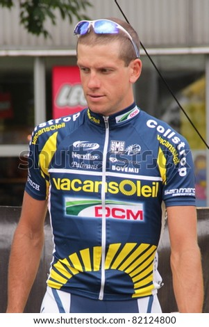 CZESTOCHOWA, POLAND - AUGUST 1 - Ruslan Pidgornyj (Vacansoleil Pro Cycling Team, Ucraine Champion 2008) before the second stage of the Tour de Pologne 2011, on August 1,2011 in Czestochowa, Poland - stock photo