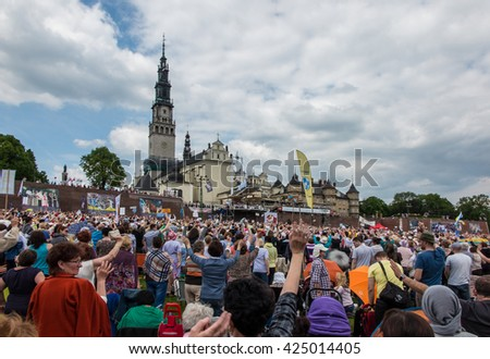 CZESTOCHOWA, POLAND - May 21, 2016: Vigil Catholic Charismatic Renewal meeting Czestochowa Poland, in front of Jasna Gora, Anniversary, May 21, 2016, - stock photo