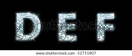 D,E,F - font made from a disco ball - stock photo