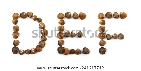 D, e, f letters of handwritten modiola typeface on white background - stock photo
