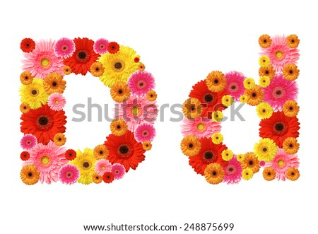 d, flower alphabet - stock photo