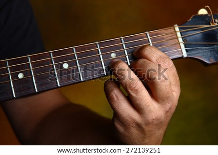 D major chord for guitar - stock photo