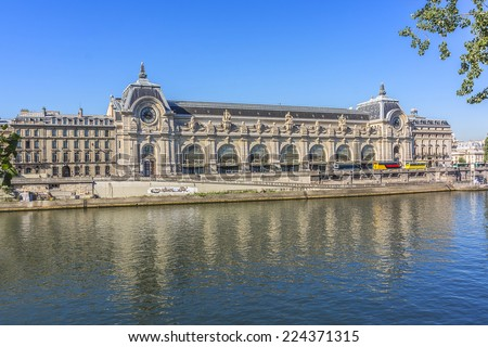 D'Orsay Museum on left bank of Seine. Paris, France. Orsay housed in the former Gare d'Orsay. D'Orsay holds mainly French art dating from 1848 to 1915.  - stock photo