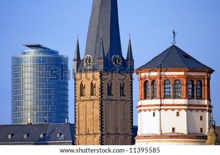 Düsseldorf's Landmarks in Row - stock photo