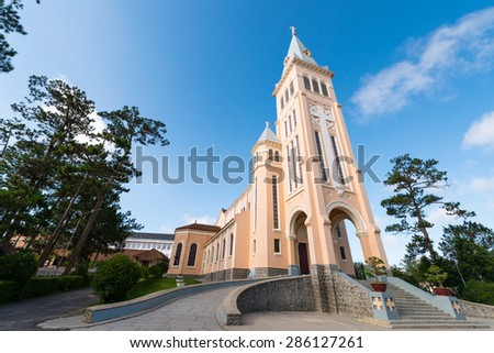 Da Lat Cathedral, Cathedral of the chicken on blue sky background, located in Da Lat city, Lam Dong province, Vietnam