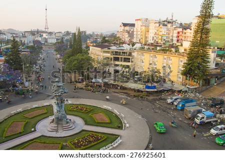 DA LAT CITY, VIETNAM - April 14, 2015: Night light of Center traffic Landmark at Da Lat city, Da Lat is one of the beautiful city in Viet Nam