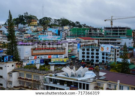 DA LAT CITY, VIETNAM - January 7, 2017: View of Dalat city, Vietnam. The architecture of Da Lat is mostly the style of the French colonial period