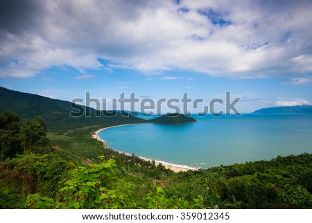 Da Nang beach near Hai Van pass mountain in Da Nang, Vietnam