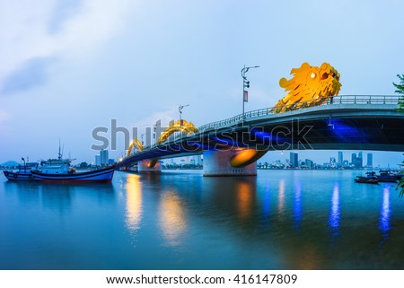 Da Nang panorama view by Han river by twilight period. Da Nang is one of the major port city in Vietnam and the biggest city in Central Vietnam