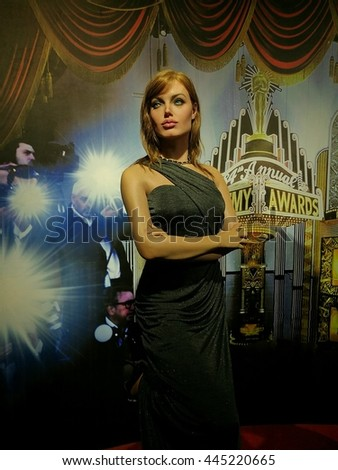 Da Nang, Vietnam - Jun 20, 2016: Angelina Jolie wax statue on display at Ba Na Hills mountain resort. Angelina Jolie Pitt is an American actress, filmmaker, and humanitarian.  - stock photo