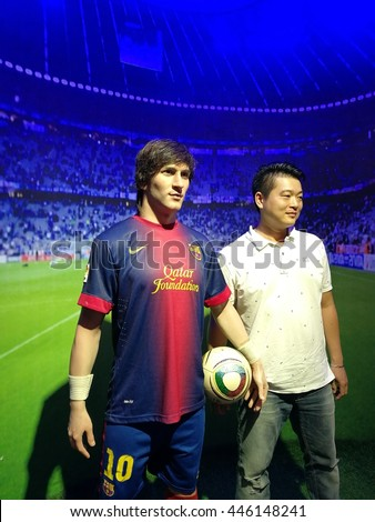 Da Nang, Vietnam - Jun 20, 2016: Lionel Messi wax statue on display at Ba Na Hills mountain resort. Messi is an Argentine professional footballer who plays as a forward for Spanish club Barcelona