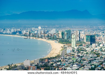 Da Nang, Vietnam - May 27 2016 : Da Nang city with skyscrapers and beautiful architecture bridges along Han River on a beautiful bay, this the most tourist cities in Da Nang, Vietnam