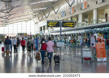 DA NANG, VIETNAM  - SEP 5: Local travellers in Da Nang International Airport on Sep 5, 2014. This is the third lagest airport in Vietnam following Hanoi and Saigon Aiport. - stock photo