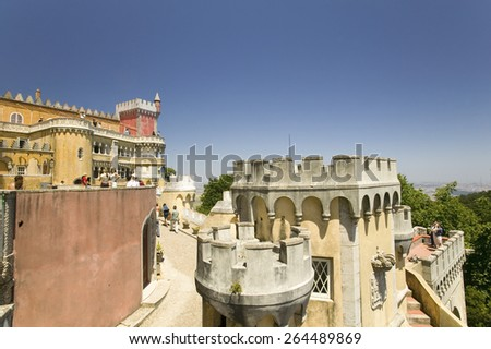 "Da Pena Royal Palace, Pal�¢?�¡cio da Pena, or ""Castelo da Pena"" as it is more commonly known, Portugal, Sintra  - stock photo"