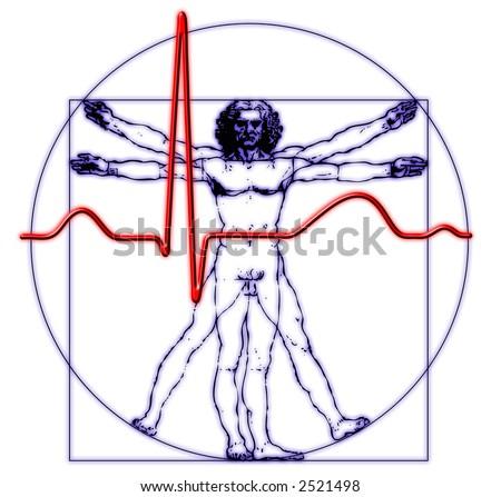 Da Vinci medical body - stock photo