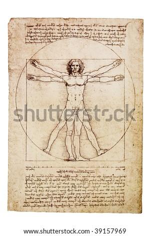Da Vinci's Vitruvian Man from 1492 - stock photo