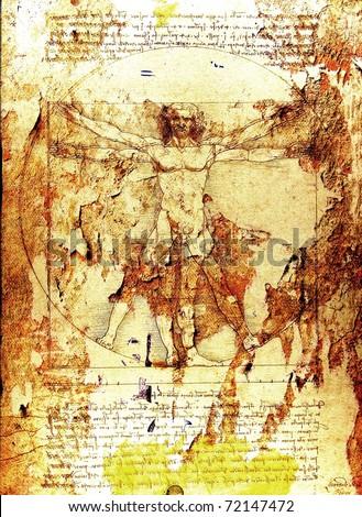 Da Vinci's Vitruvian Man grunge background - stock photo