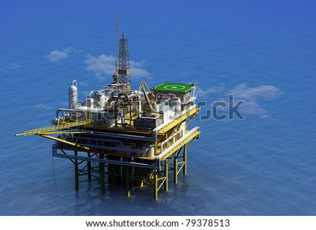 Dabycha oil into the sea from above.